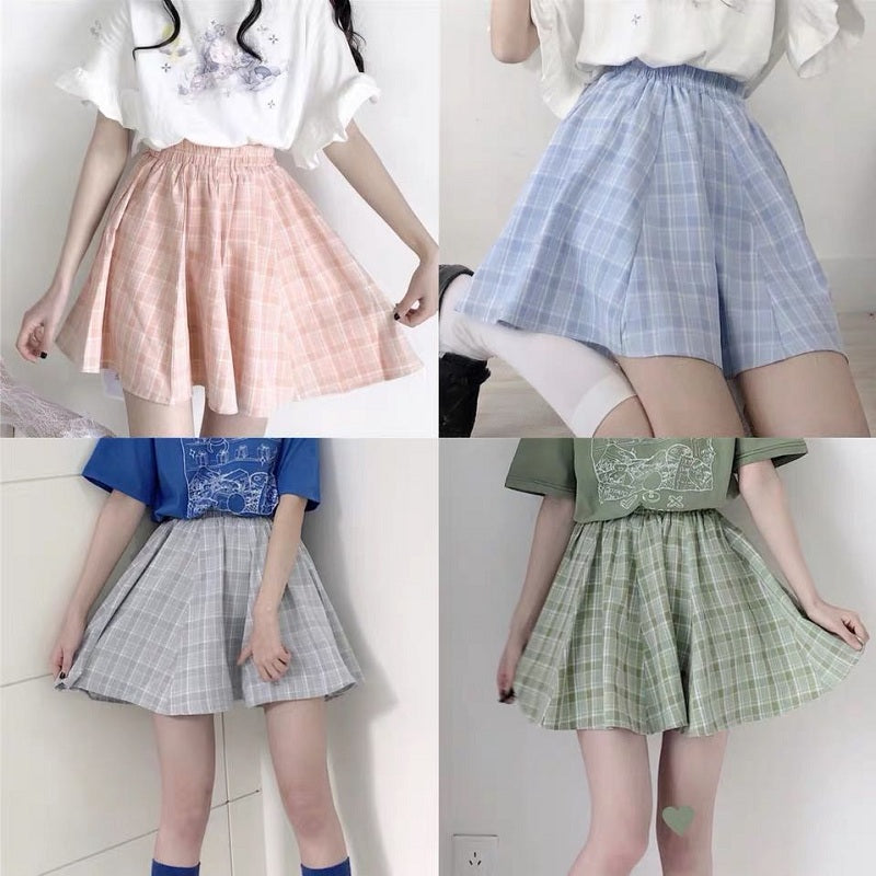 JAPANESE PREPPY STYLE PLAID SKIRT BY61050