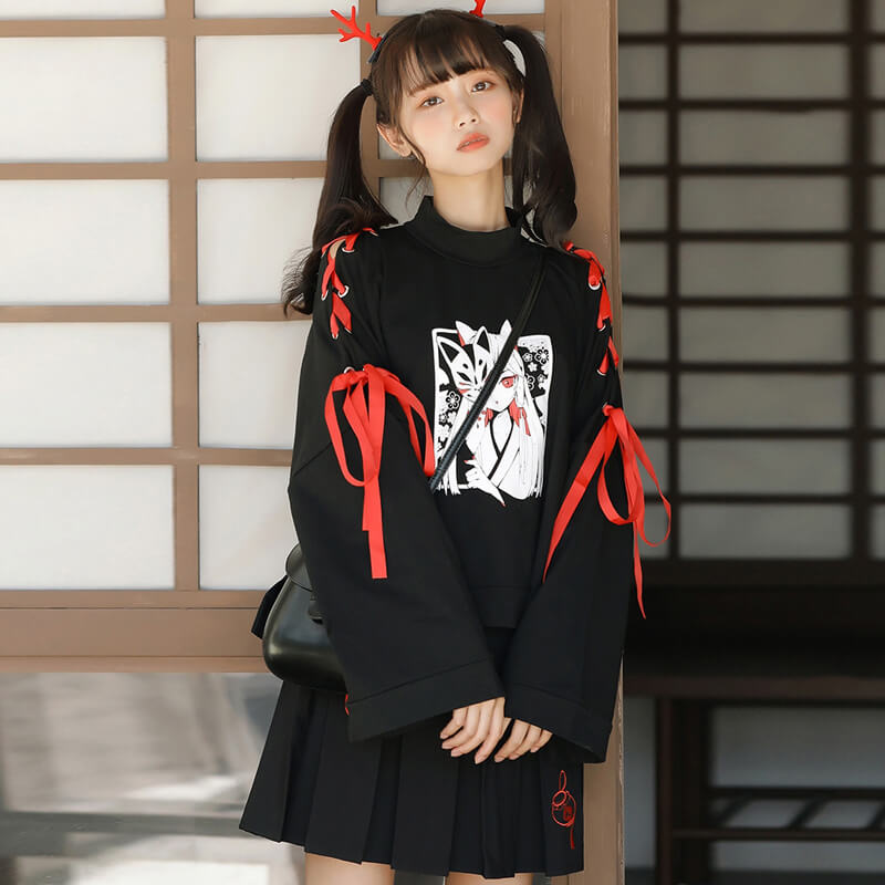 JAPANESE COMIC FOX SWEATSHIRT+SKIRT BY21217