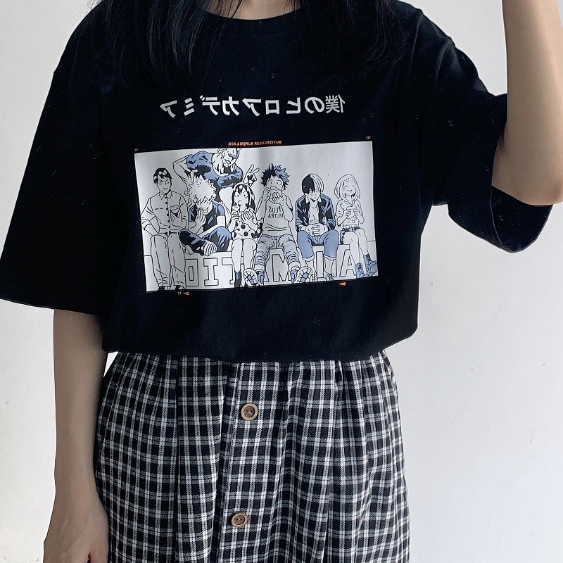 JAPANESE COMIC PRINT SHORT SLEEVE T-SHIRT BY22340