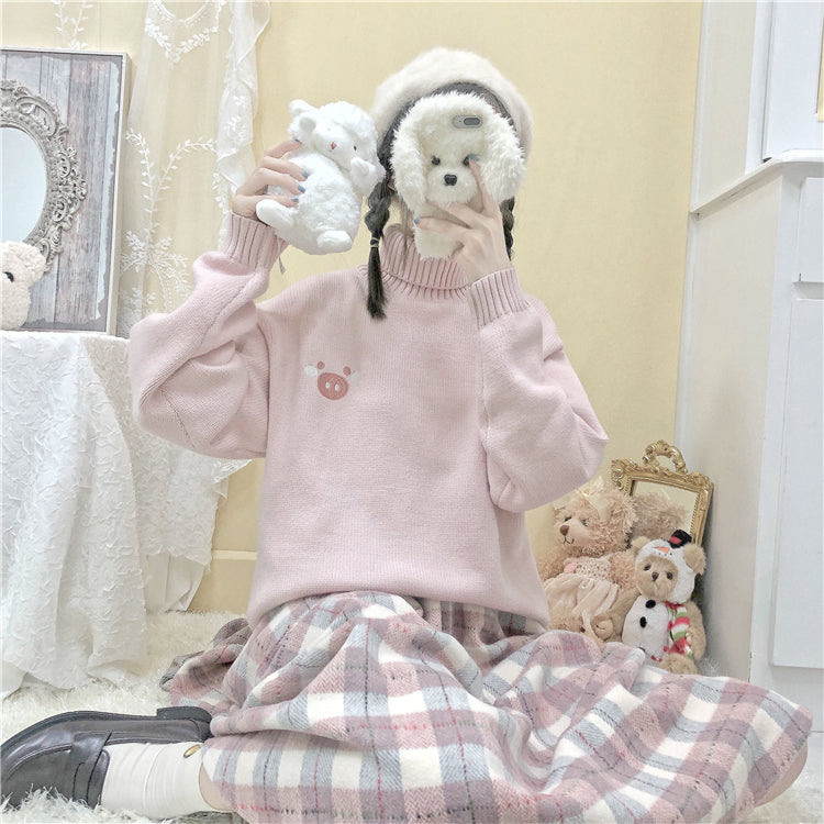 JAPANESE CUTE PINK PIG SWEATER BY21178