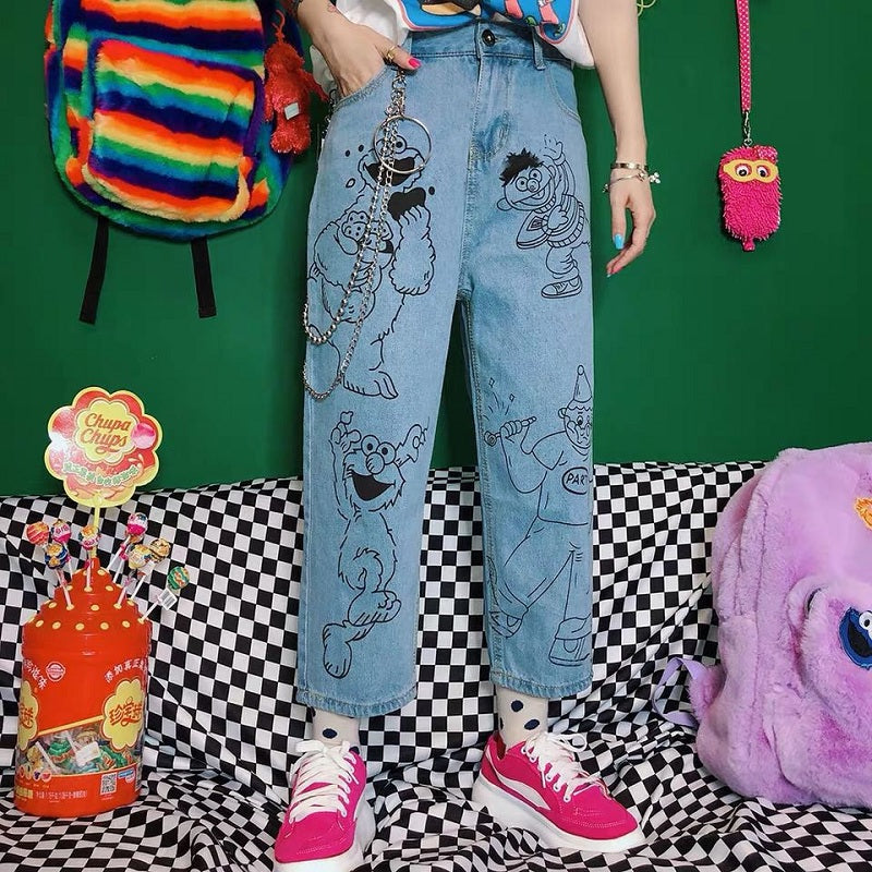 JAPANESE HARAJUKU CARTOON JEANS BY63057