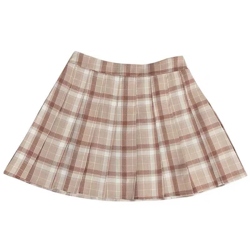 JAPANESE HIGH WAIST ELASTIC PLAID SKIRT BY61075