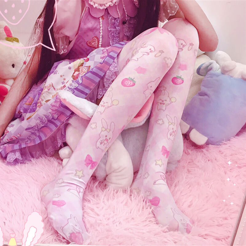 JAPANESE LOLITA BUNNY PRINT KNEE SOCKS BY64029