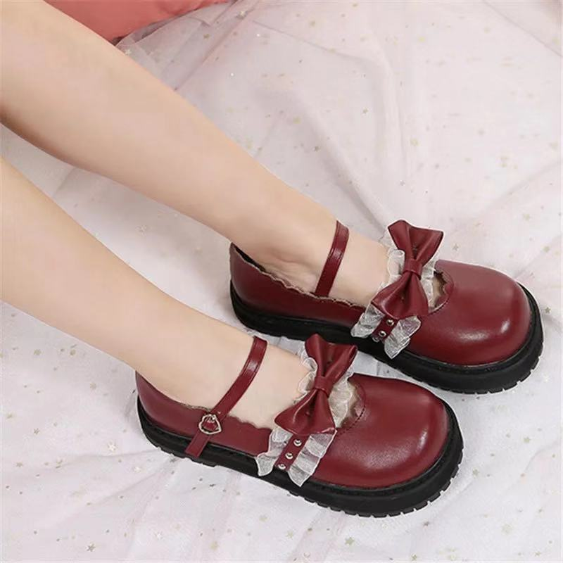 JAPANESE LOLITA CUTE BOW THICK-SOLED SHOES BY50811