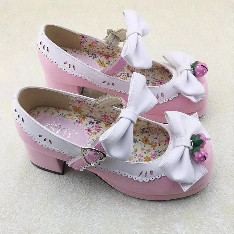 JAPANESE LOLITA STRAWBERRY BELL BOW SHOES