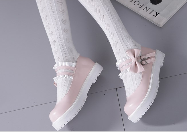JAPANESE LOLITA SWEET LACE PLATFORM SHOES BY81005