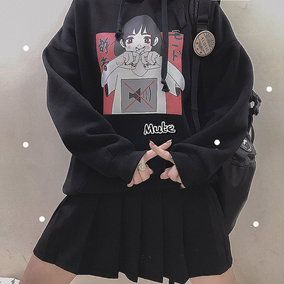 JAPANESE MUTE BLACK WHITE HOODIE BY23157