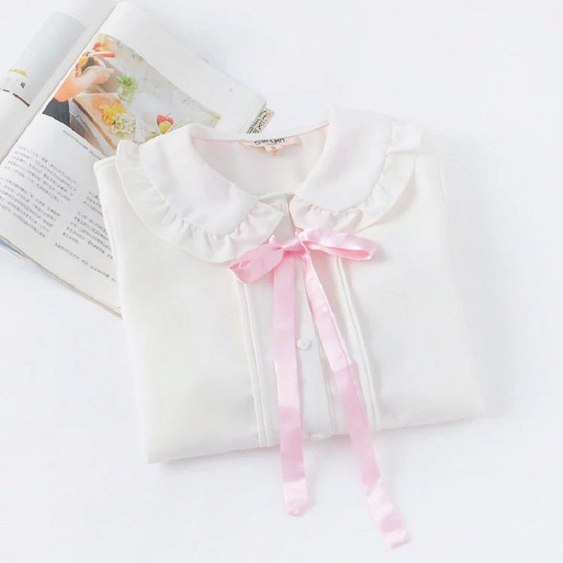 JAPANESE PINK BOW LONG SLEEVE SHIRT BY22096