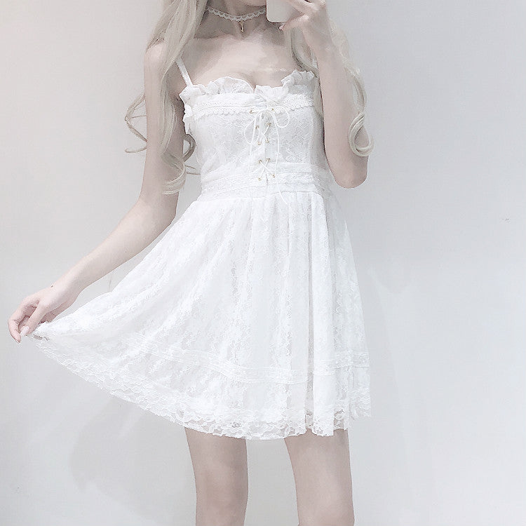 JAPANESE WHITE LACE SLING DRESS BY71043