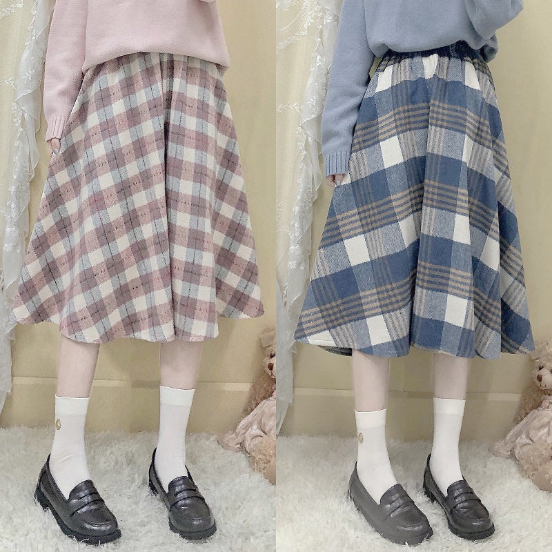 JAPANESE WOOL PLAID MID-LENGTH SKIRT BY63133