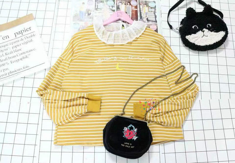 JAPANESE MOON EMBROIDERED STRIPED T-SHIRT BY22998