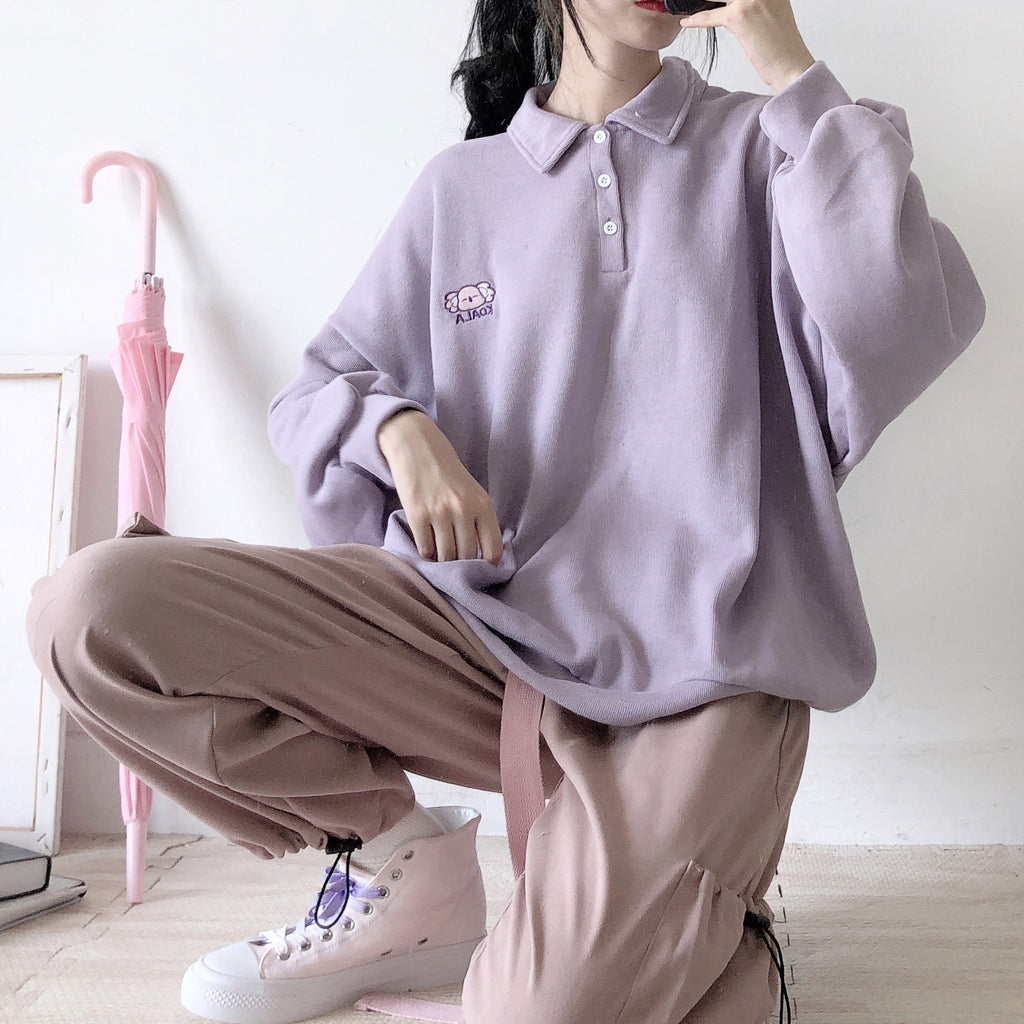 ''KOALA EMBROIDERY'' PURPLE SWEATER BY21103