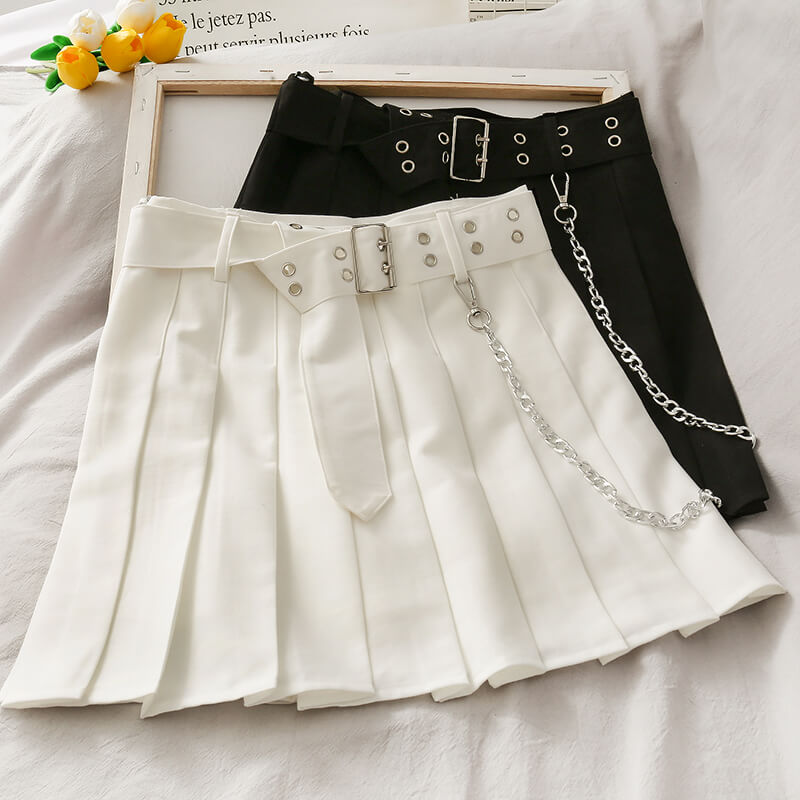KOREAN FASHION PLEATED CHAIN SKIRT BY61901