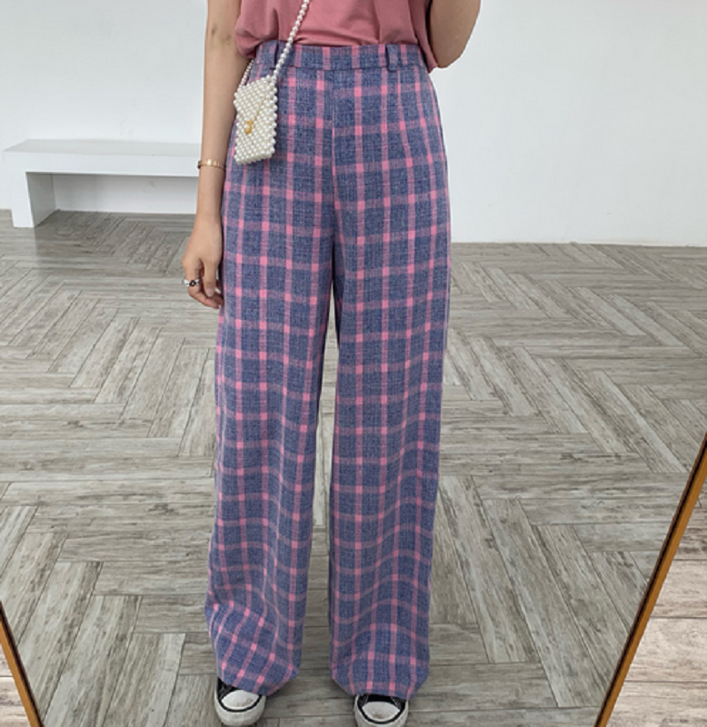 KOREAN HIGH WAIST LOOSE CHECKER CASUAL PANTS BY63008