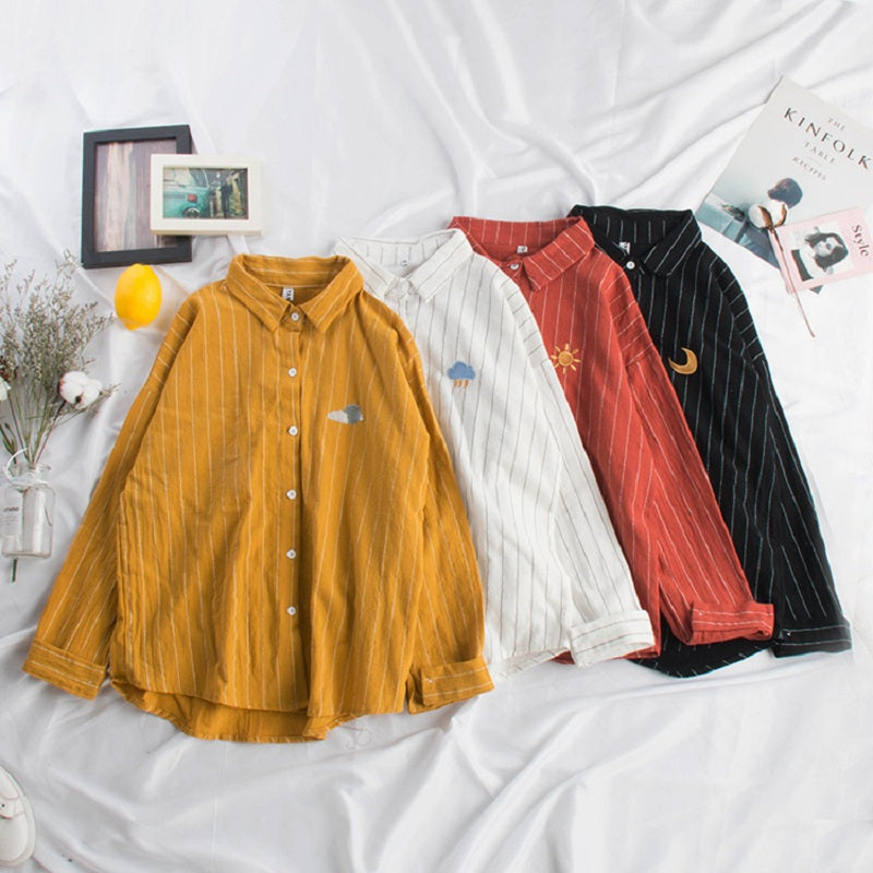 KOREAN LOOSE WEATHER EMBROIDERY SHIRT BY22104