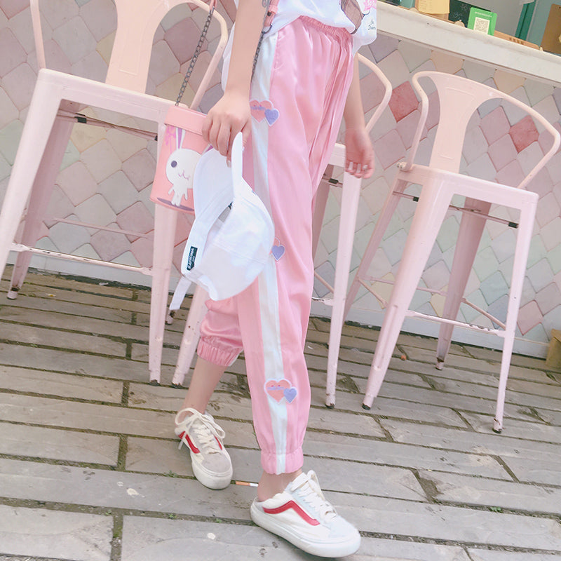 KOREAN STRIPE LOVE PINK CASUAL PANTS BY63005