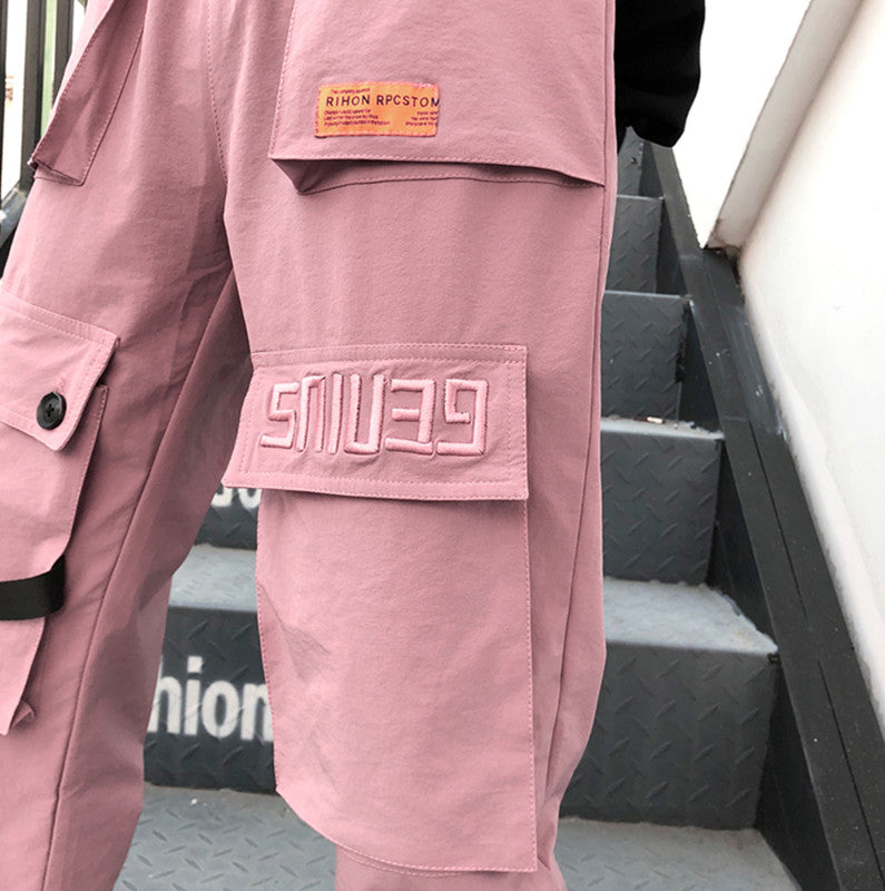 KOREAN UNISEX PINK OVERALLS PANTS BY63021