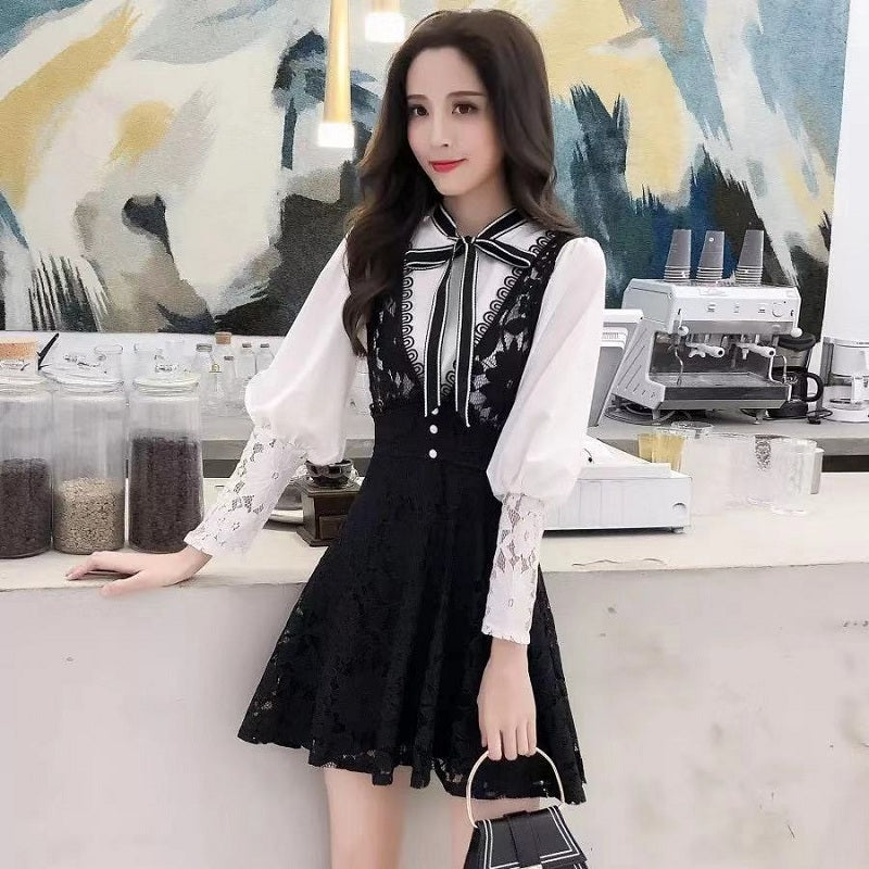LACE BOW SHIRT+STRAP DRESS