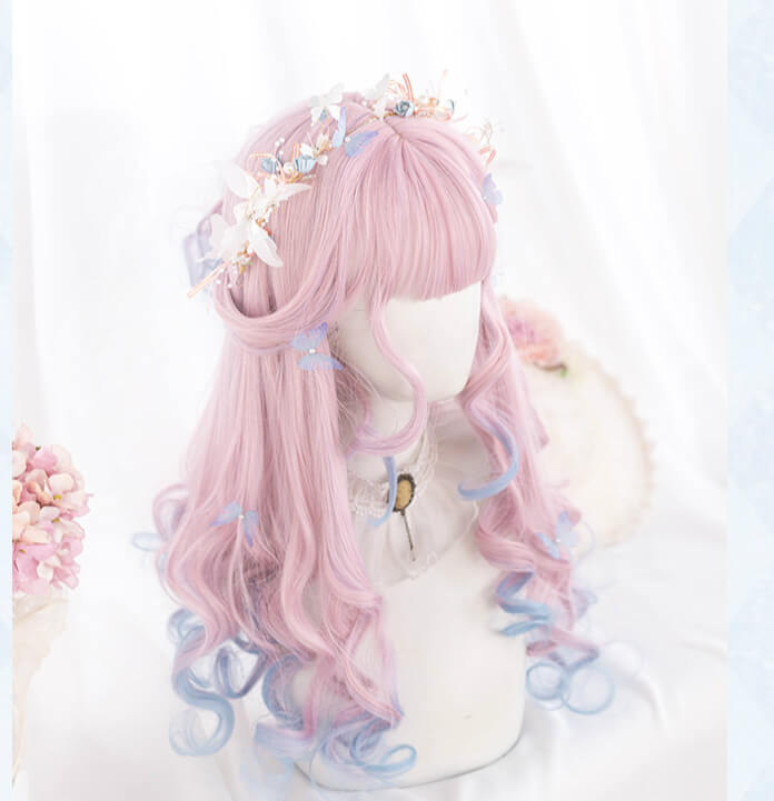 LOLITA PASTEL PINK BLUE LONG CURLY COS WIG BY07178