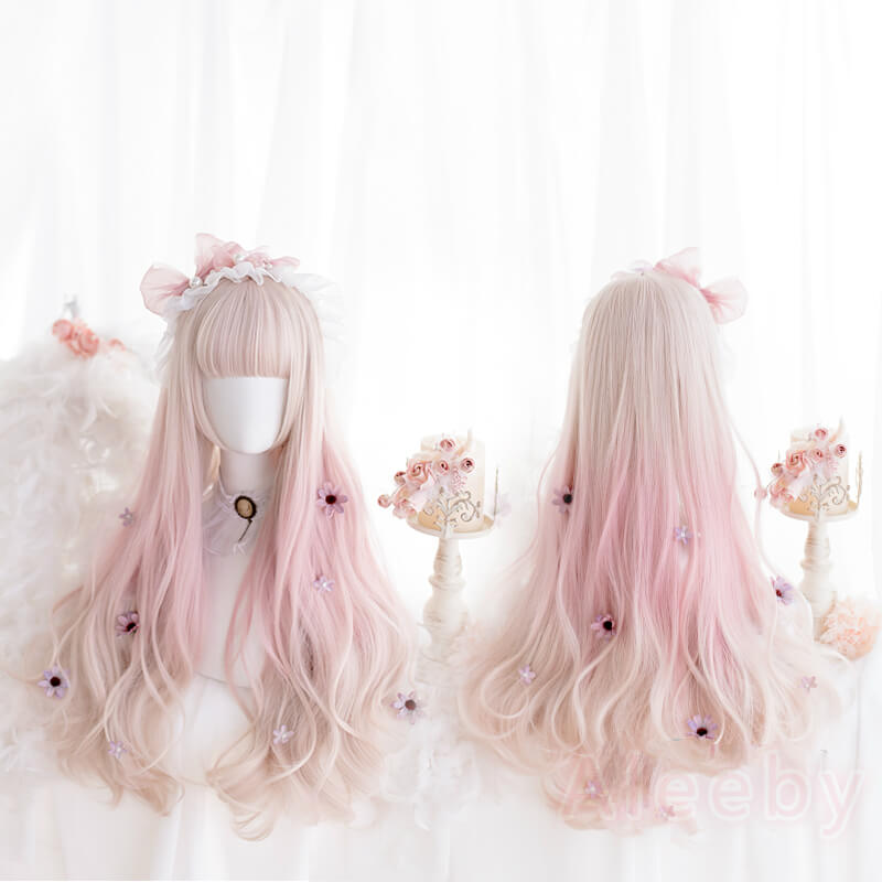 LOLITA PASTEL PINK GRADIENTLONG CURLY COS WIG BY00441