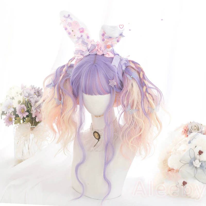 LOLITA PASTEL PURPLE PINK GRADIENT MIXTURE LONG CURLY WIG BY071707