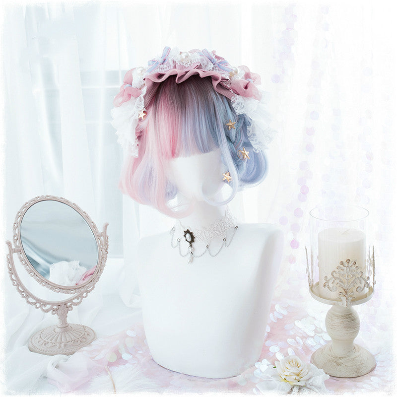 LOLITA BLUE PINK GRADIENT BOBO WIG BY31997