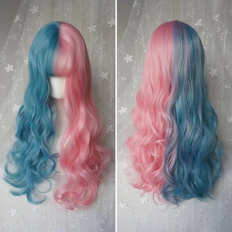 LOLITA  BLUE PINK LONG WAVE WIG BY31042