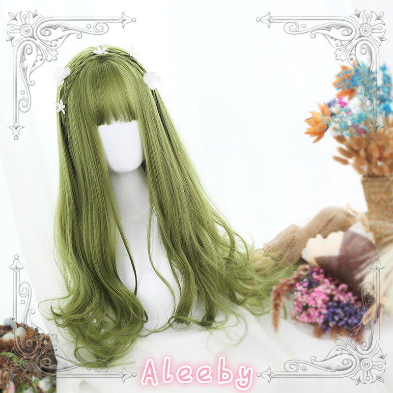 LOLITA GREEN LONG CURLY WIG BY31075