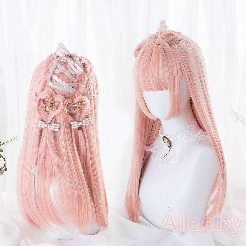 LOLITA ''PEACH PINK'' HIME CUT LONG STRAIGHT WIG BY02233