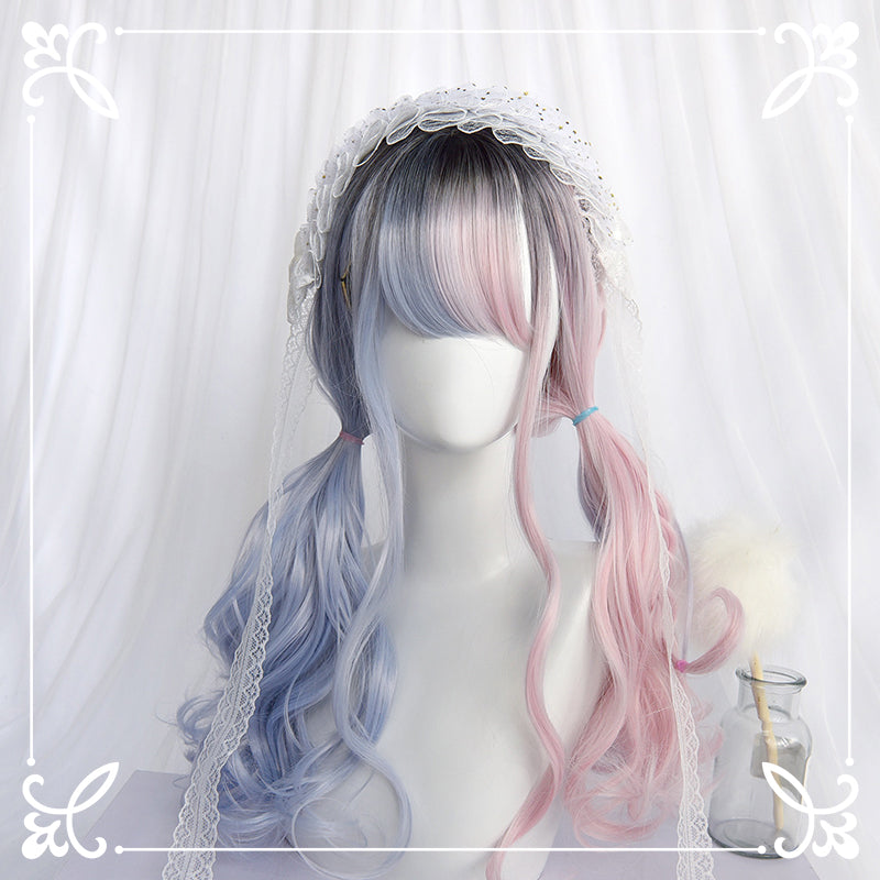 LOLITA PINK BLUE MEDIUM LONG CURLY WIG BY31061