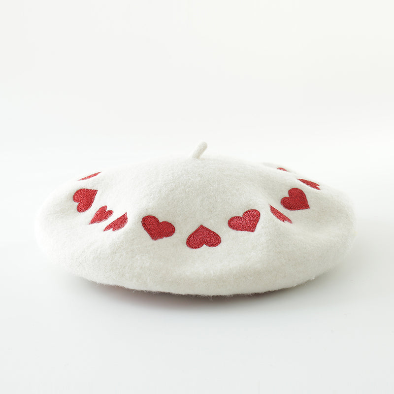 ''LOVE EMBROIDERY'' WHITE BERET BY51030