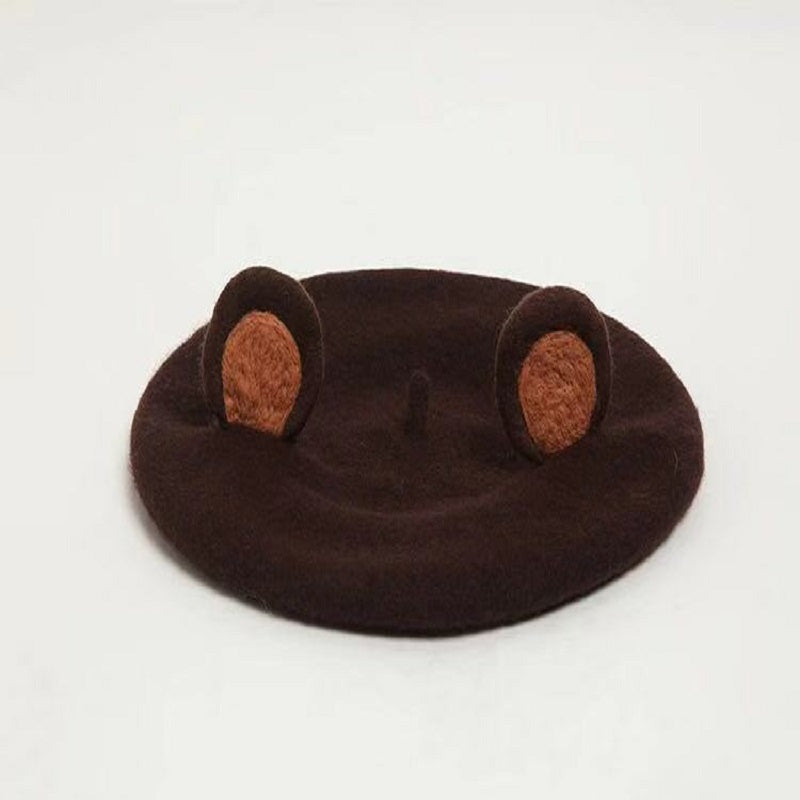 MANUAL WOOL CUTE BEER EAR BERET HAT BY51052