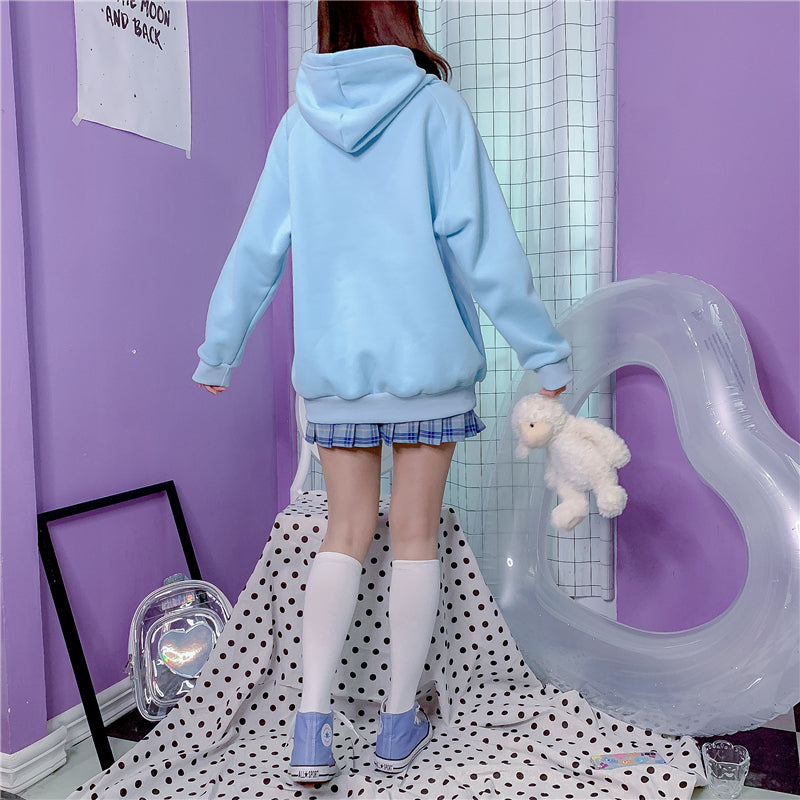 ''MISSING BEAR'' BLUE VELVET HOODIE BY23155