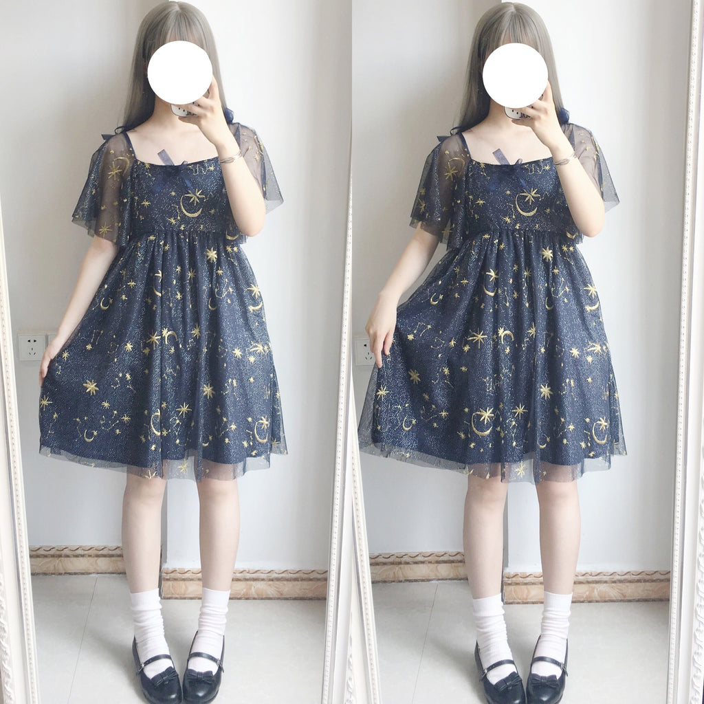 MOON EMBROIDERY BOW DRESS BY71114