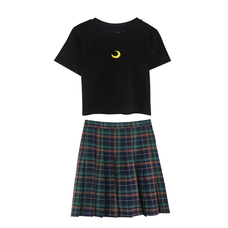 MOON PRINT T-SHIRT+CHECKER PLEATED SKIRT BY22227