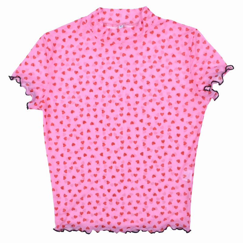 PINK HEART MESH PERSPECTIVE SHIRT BY22337