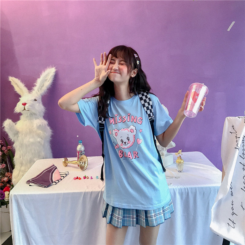 SUMMER CUTE MISSING BEAR BLUE PRINTED T-SHIRT BY22209