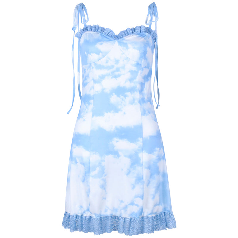 """BLUE SKY&WHITE CLOUD"" LACE SLING DRESS BY71095"