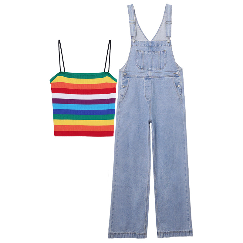 KOREAN RAINBOW STRIPE VEST+ DENIM OVERALLS  BY63103