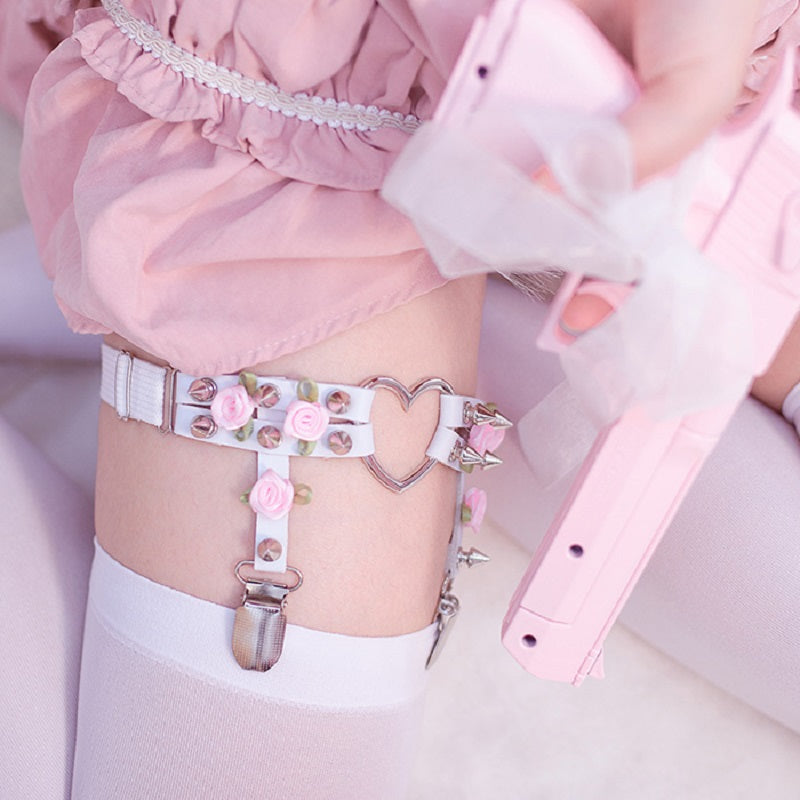 HANDMADE LOLITA HEART ROSE LEG RING BY18015