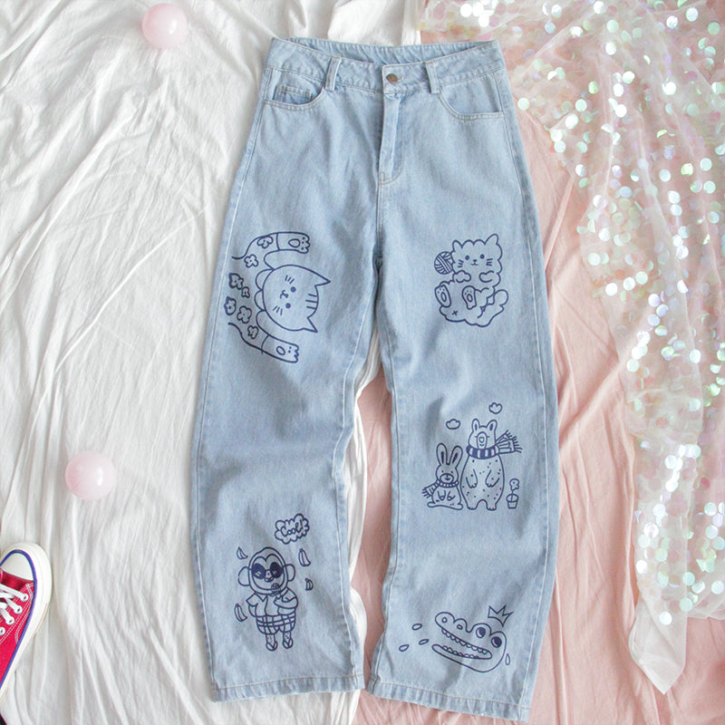CUTE CARTOON LOOSE JEANS BY63067