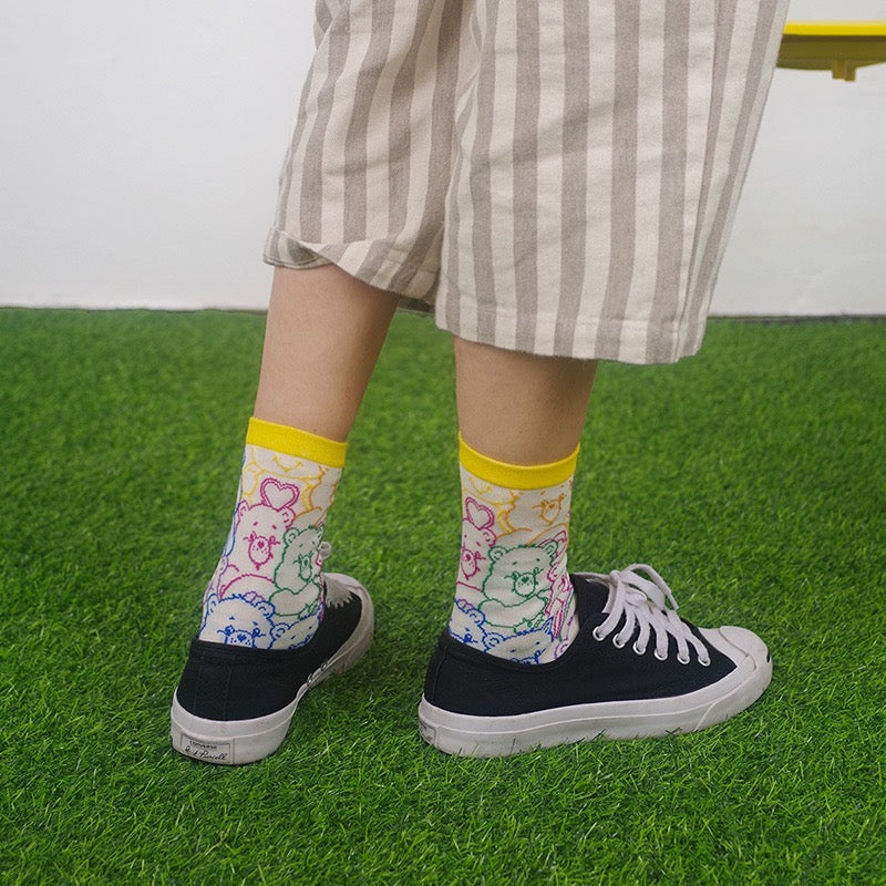 4 PAIRS CUTE ''BEAR'' SPORTS COTTON MID SOCKS BY64014