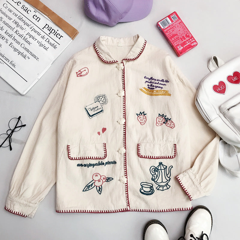 JAPANESE PREPPY STRAWBERRY EMBROIDERED COAT BY24031