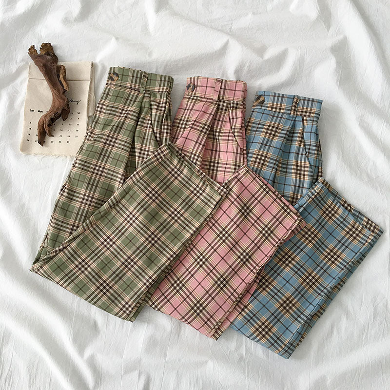 SUMMER KOREAN CHECKERS PANTS BY63050