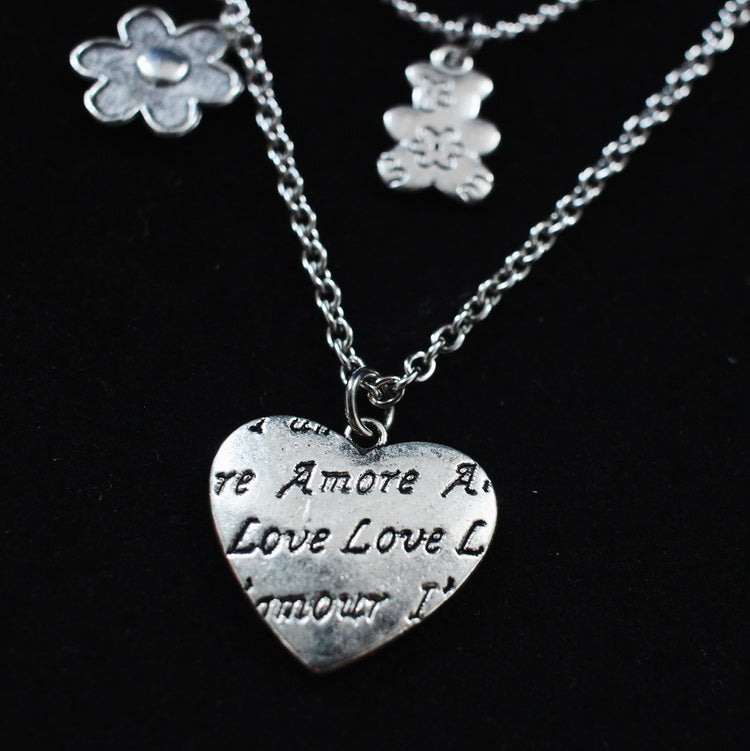 TWO NECKLACES TITANIUM STEEL BEAR FLOWER LOVE NECKLACE BY13011