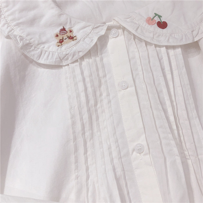 CHERRY BEAR EMBROIDERED LOTUS LEAF LONG SLEEVE SHIRT BY280805