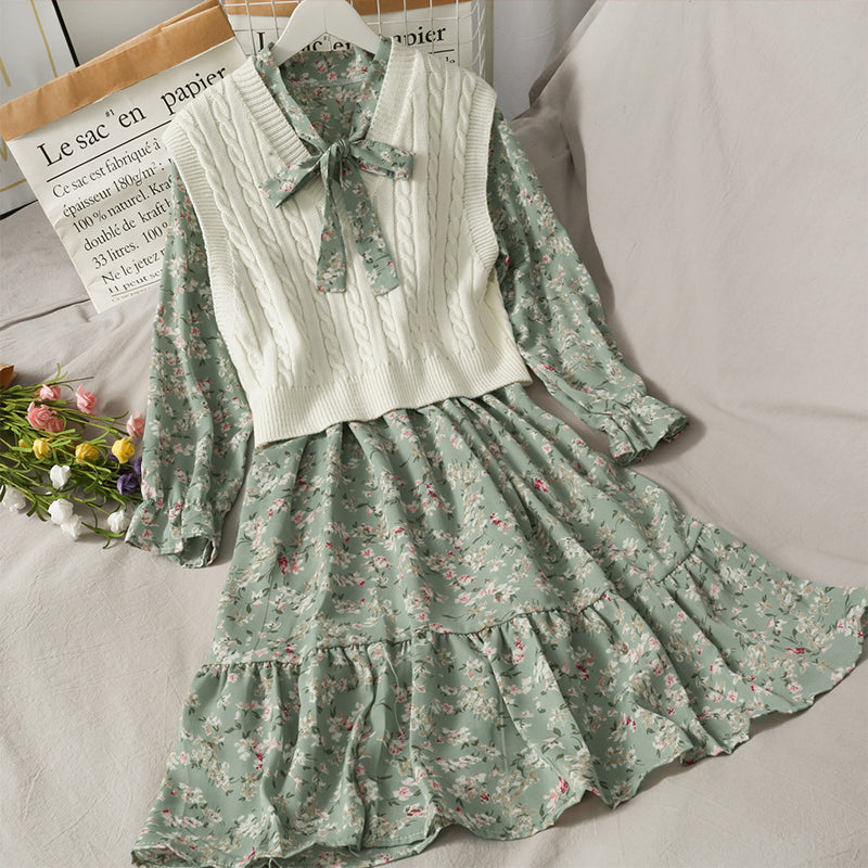 FLORAL HIGH WAIST MED LENGTH DRESS KNITTED VEST SUIT BY061002