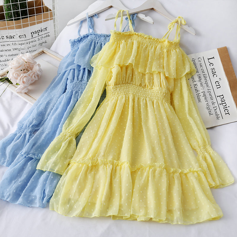 LOTUS LEAF FAIRY CHIFFON DRESS BY8101