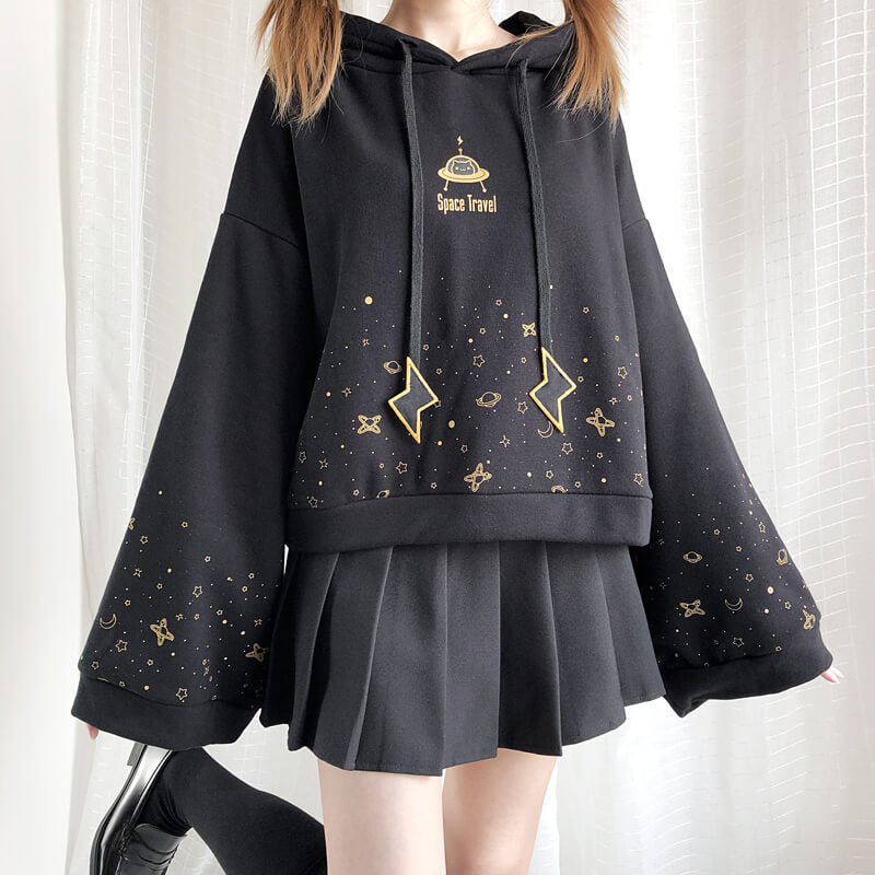 """ROAMING STARRY SKY"" TRUMPET SLEEVE HOODIE BY23246"