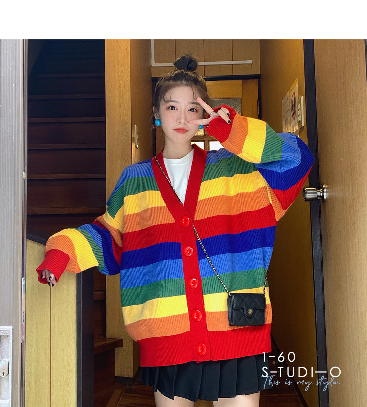 KOREAN RAINBOW STRIPE SWEATER BY21121